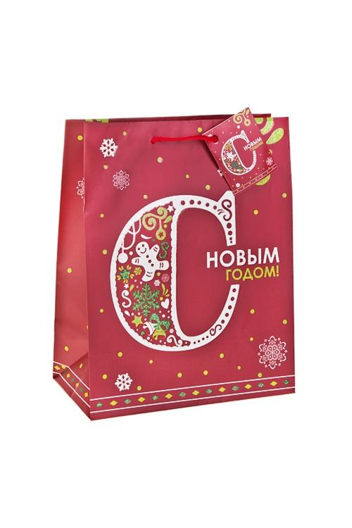 Пакет подарочный новогодний С Новым Годом!Сувениры и упаковка<br>18*10*22.7см, бум., матовый, с декором<br>