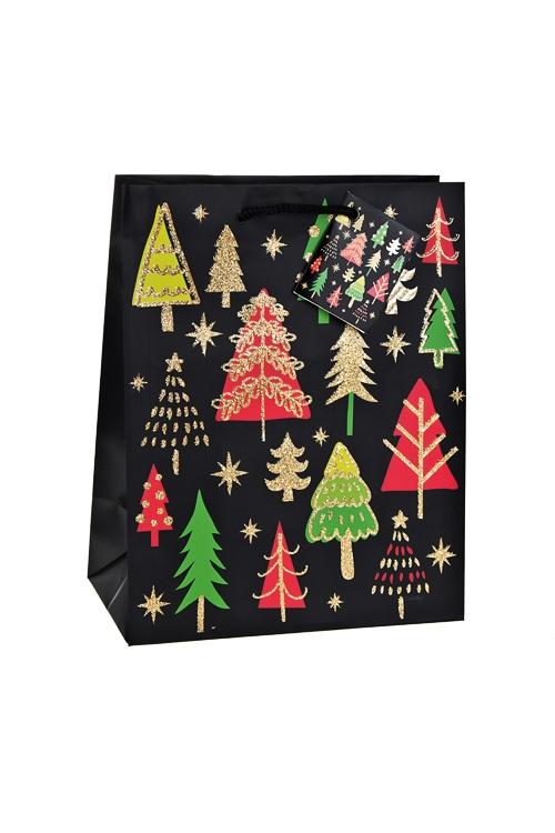 Пакет подарочный новогодний Яркие елочкиСувениры и упаковка<br>18*10*22.7см, бум., матовый, с декором<br>