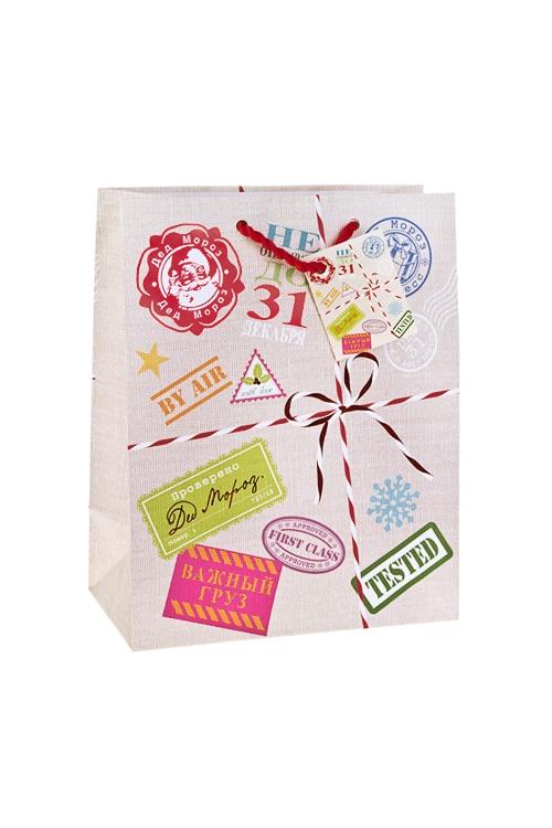 Пакет подарочный новогодний Новогодняя посылкаСувениры и упаковка<br>18*10*22.7см, бум., матовый, с гор. тиснением<br>