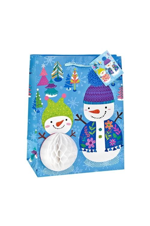 Пакет подарочный новогодний СнеговичкиСувениры и упаковка<br>18*10*22.7см, бум., матовый, с декором<br>