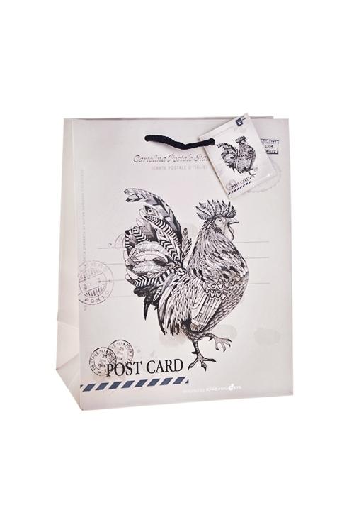 Пакет подарочный Счастливый петушокПакеты «С Новым годом и Рождеством»<br>18*10*22.7см, бум., матовый, с декором<br>