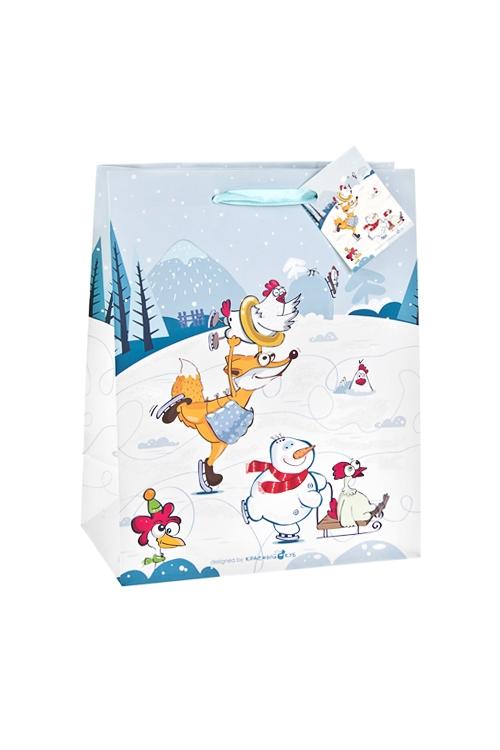 Пакет подарочный Куриные забавыСувениры и упаковка<br>18*10*22.7см, бум., матовый, с декором<br>