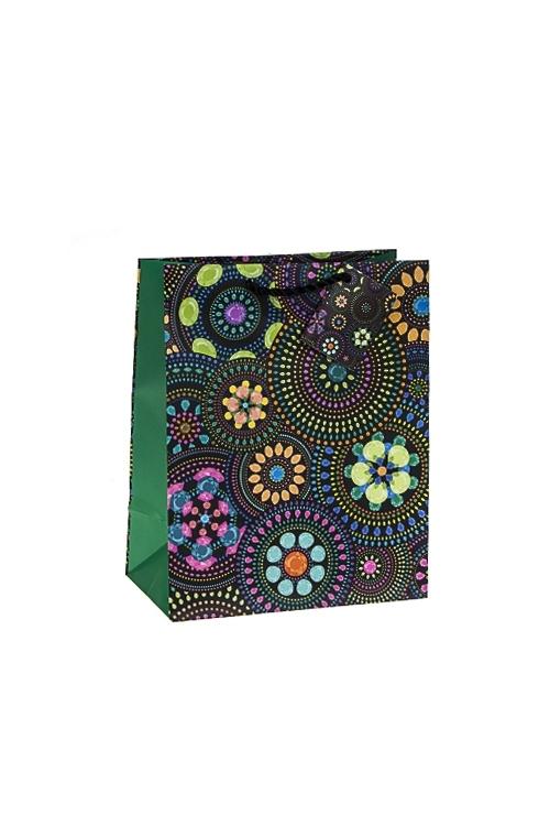Пакет подарочный Цветочная мозаикаСувениры и упаковка<br>18*10*22.7см, бум., матовый<br>