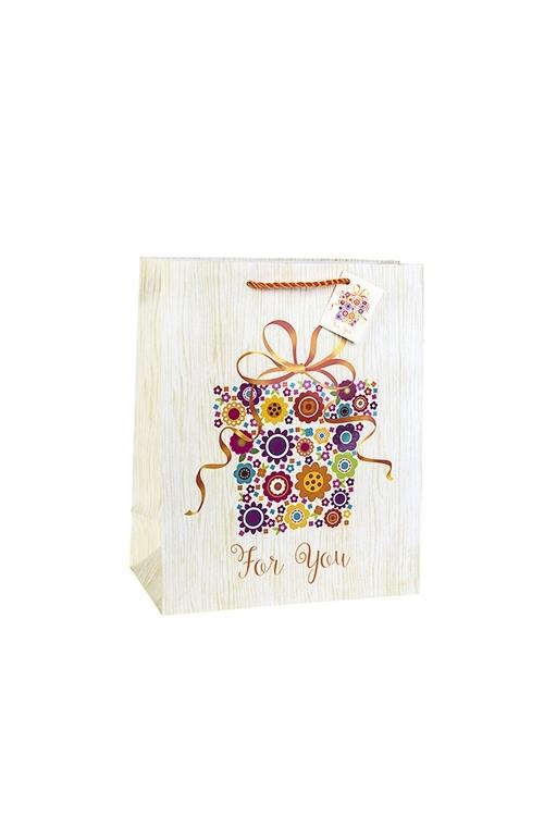 Пакет подарочный Цветочный подарокПодарки на 8 марта<br>18*10*22.7см, бум., матовый, с декором<br>