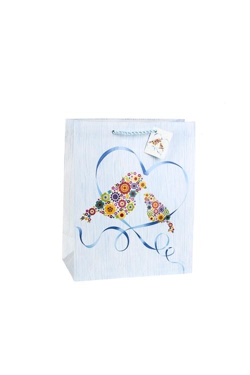 Пакет подарочный Цветочные птицыПакеты про Любовь<br>18*10*22.7см, бум., матовый, с декором<br>