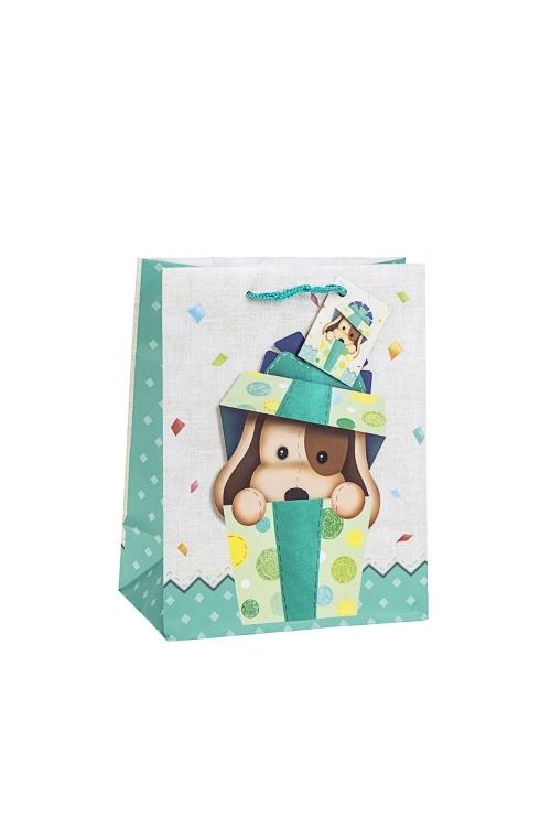 Пакет подарочный ЩеночекСувениры и упаковка<br>18*10*22.7см, бум., матовый, с декором<br>