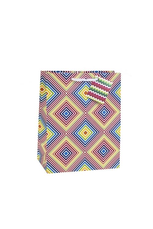 Пакет подарочный Танцующий узорСувениры и упаковка<br>18*10*22.7см, бум., матовый, с декором<br>