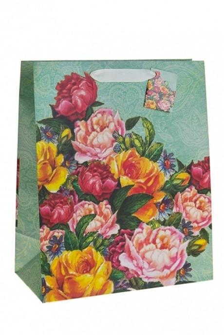 Пакет подарочный Бархатные розыСувениры и упаковка<br>26.4*13.6*32.7см, бум.<br>