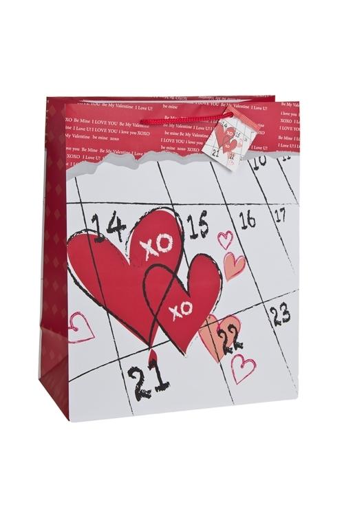 Пакет подарочный День Св.ВалентинаСувениры и упаковка<br>26.4*13.6*32.7см, бум., матовый<br>