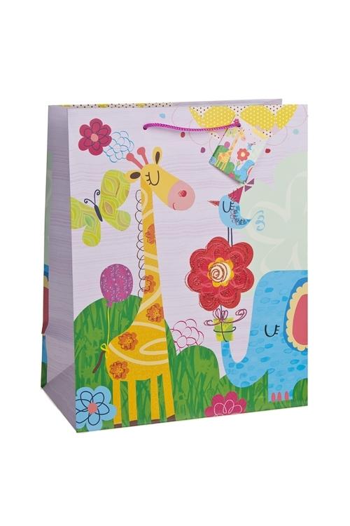 Пакет подарочный Веселые зверятаСувениры и упаковка<br>26.4*13.6*32.7см, бум., с декором, матовый<br>