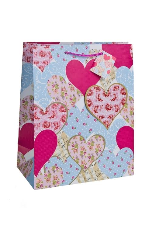Пакет подарочный Розы в сердцахПакеты про Любовь<br>26.4*13.6*32.7см, бум., с декором, матовый<br>