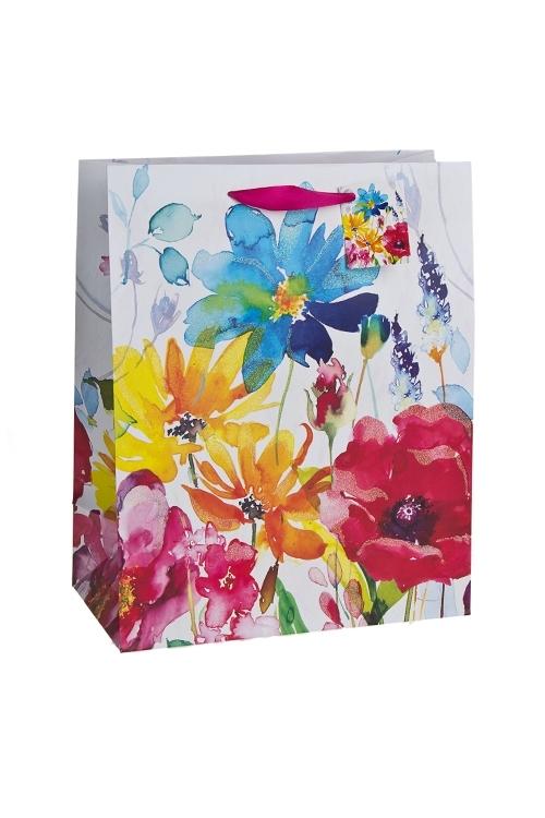 Пакет подарочный Луговые цветыСувениры и упаковка<br>26.4*13.6*32.7см, бум., с декором, матовый<br>