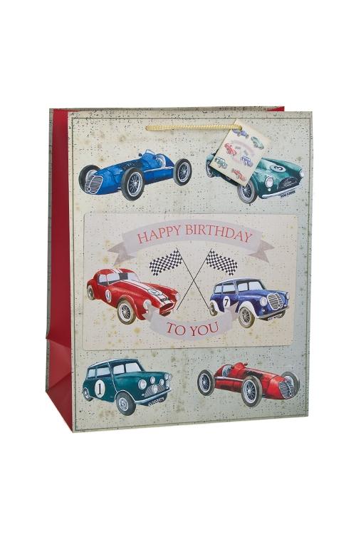 Пакет подарочный Раритетные машиныСувениры и упаковка<br>26.4*13.6*32.7см, бум., с декором, матовый<br>