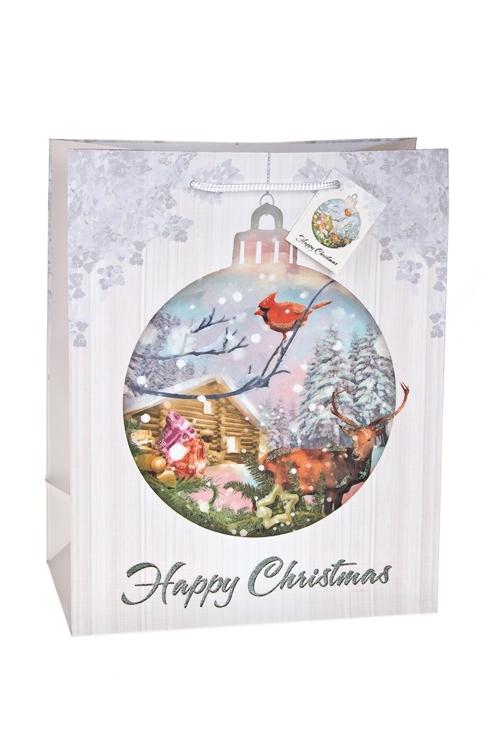 Пакет подарочный новогодний Домик в лесуСувениры и упаковка<br>26.4*13.6*32.7см, бум., матовый, с декором<br>