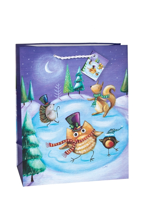 Пакет подарочный новогодний Совушки на каткеСувениры и упаковка<br>26.4*13.6*32.7см, бум., матовый, с декором<br>