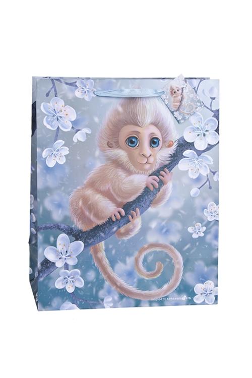 Пакет подарочный Волшебная обезьянкаПодарочные пакеты<br>26.4*13.6*32.7см, бум., матовый, с декором<br>