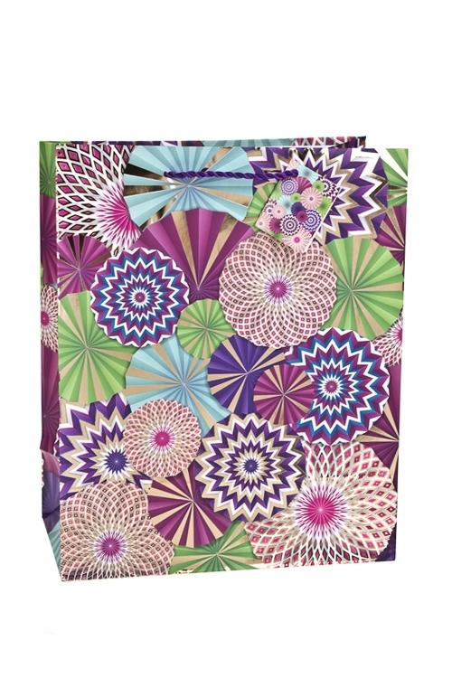 Пакет подарочный Цветочный салютСувениры и упаковка<br>26.4*13.6*32.7см, бум., матовый, с гор. тиснением<br>
