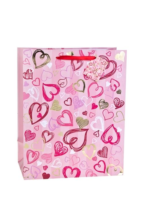 Пакет подарочный Сердечные безумстваПакеты на любой повод<br>26.4*13.6*32.7см, бум., матовый, с гор. тиснением<br>