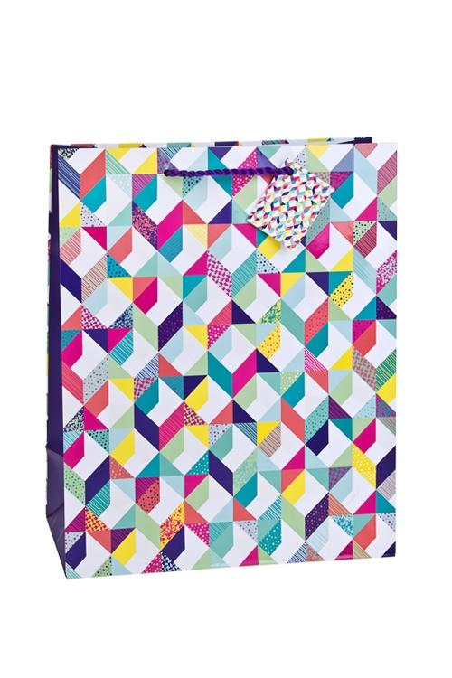 Пакет подарочный Красочная геометрияСувениры и упаковка<br>26.4*13.6*32.7см, бум., матовый, с декором<br>