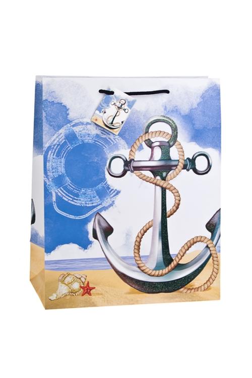 Пакет подарочный ЯкорьСувениры и упаковка<br>26.4*13.6*32.7см, бум., матовый, с декором<br>
