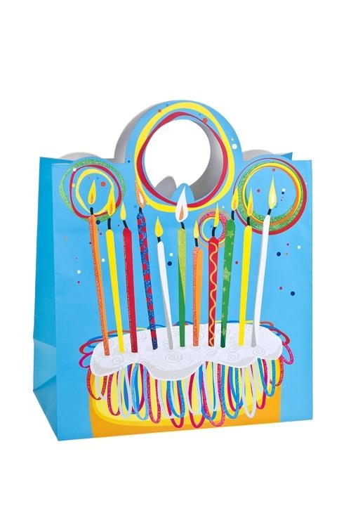 Пакет подарочный Задуй свечки!Пакеты «С Днем рождения»<br>26.4*13.6*32.7см, бум., матовый, с декором<br>