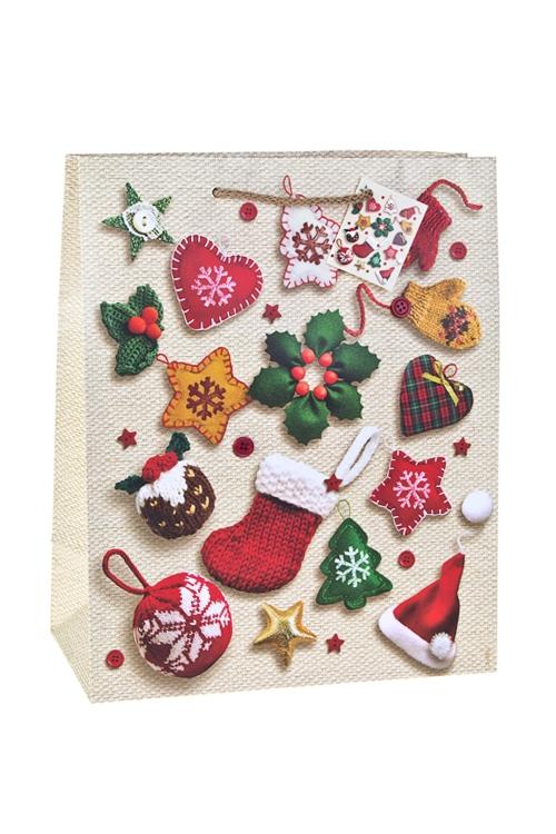 Пакет подарочный новогодний Праздничные атрибутыПакеты «С Новым годом и Рождеством»<br>26.4*13.6*32.7см, бум., матовый, с декором<br>