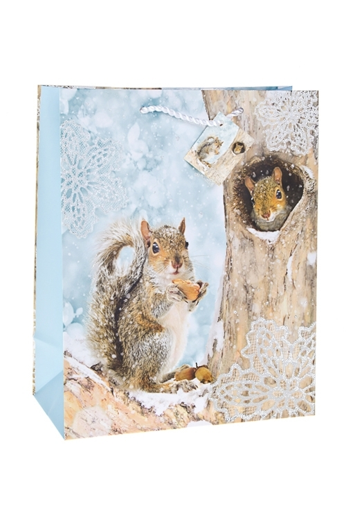 Пакет подарочный новогодний Белочка с орешкомПакеты «С Новым годом и Рождеством»<br>26.4*13.6*32.7см, бум., матовый, с декором<br>