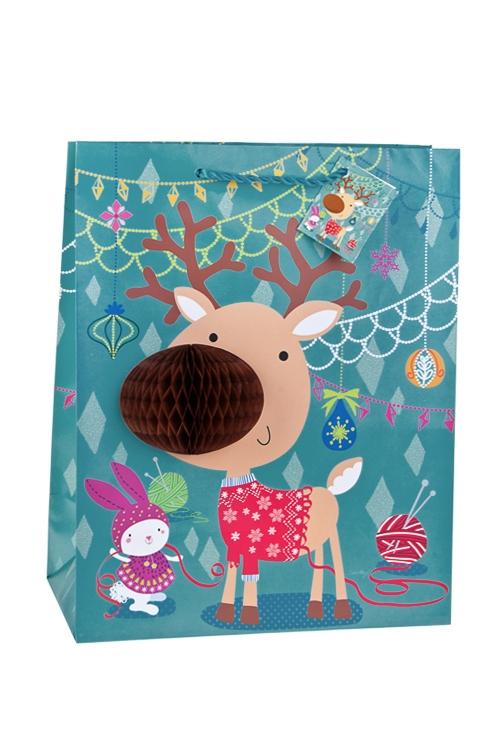 Пакет подарочный новогодний Лосик - коричневый носикСувениры и упаковка<br>26.4*13.6*32.7см, бум., матовый, с декором<br>
