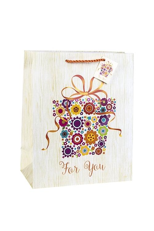 Пакет подарочный Цветочный подарокСувениры и упаковка<br>26.4*13.6*32.7см, бум., матовый, с декором<br>