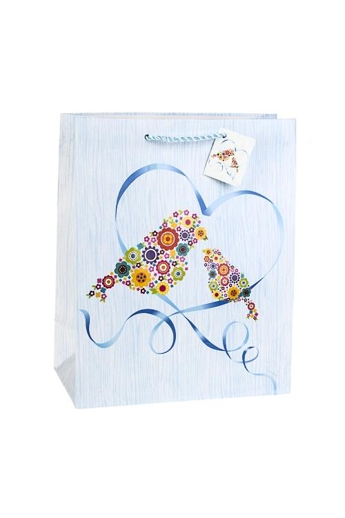 Пакет подарочный Цветочные птицыСувениры и упаковка<br>26.4*13.6*32.7см, бум., матовый, с декором<br>