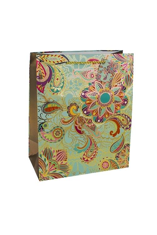 Пакет подарочный Восточные цветыПакеты на любой повод<br>26.4*13.6*32.7см, бум., матовый, с горячим тиснением<br>