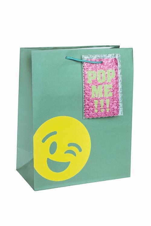 Пакет подарочный СмайликПакеты на любой повод<br>26.4*13.6*32.7см, бум., матовый, с декором<br>