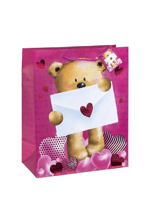 Пакет подарочный Послание от МишкиСувениры и упаковка<br>26.4*13.6*32.7см, бум., матовый, с горячим тиснением<br>