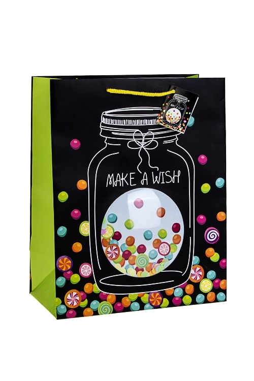 Пакет подарочный Желание в банкеСувениры и упаковка<br>26.4*13.6*32.7см, бум., матовый, с декором<br>