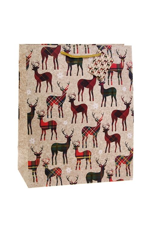 Пакет подарочный новогодний Шотландские олениСувениры и упаковка<br>26.4*13.6*32.7см, бум., матовый, с гор. тиснением<br>