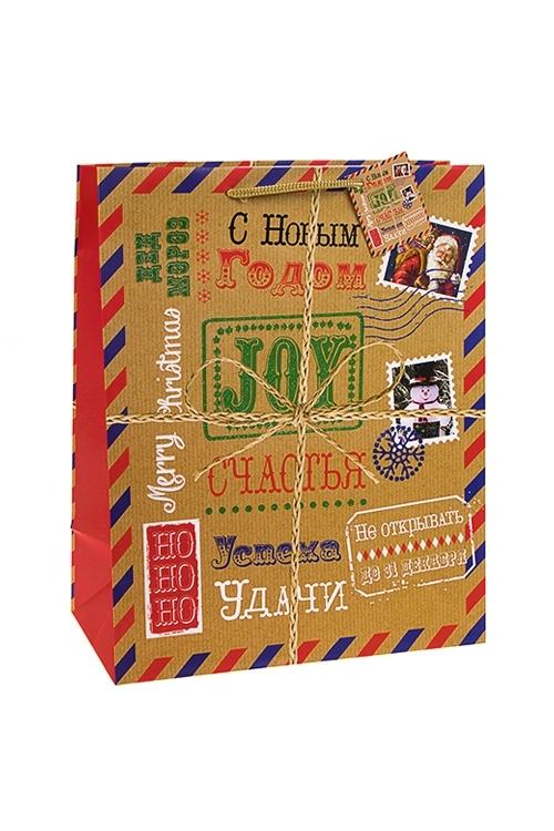 Пакет подарочный новогодний Праздничная посылкаПакеты «С Новым годом и Рождеством»<br>26.4*13.6*32.7см, бум., матовый, с декором<br>