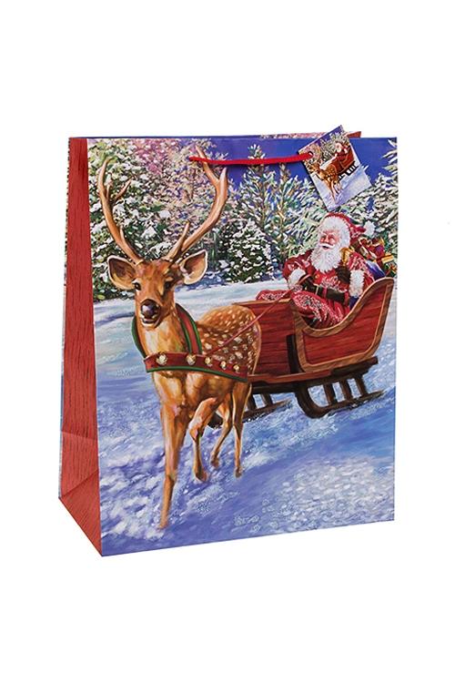 Пакет подарочный новогодний Дед Мороз в саняхПакеты «С Новым годом и Рождеством»<br>26.4*13.6*32.7см, бум., матовый, с декором<br>