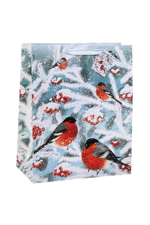 Пакет подарочный новогодний Волшебные снегириСувениры и упаковка<br>26.4*13.6*32.7см, бум., матовый, с декором<br>
