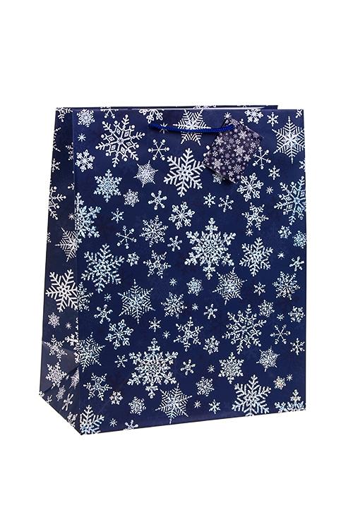 Пакет подарочный новогодний Сияющие снежинкиПакеты «С Новым годом и Рождеством»<br>26.4*13.6*32.7см, бум., матовый, с гор. тиснением<br>