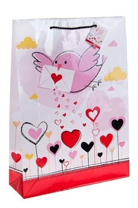 Пакет подарочный Письмо счастьяПакеты про Любовь<br>32.4*10.2*44.5см, бум.<br>