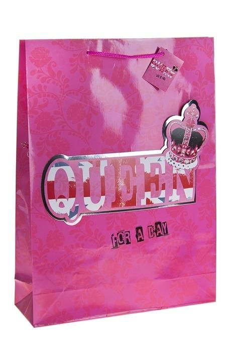 Пакет подарочный Королева на деньПакеты на любой повод<br>32.4*10.2*44.5см, бум., с декором<br>