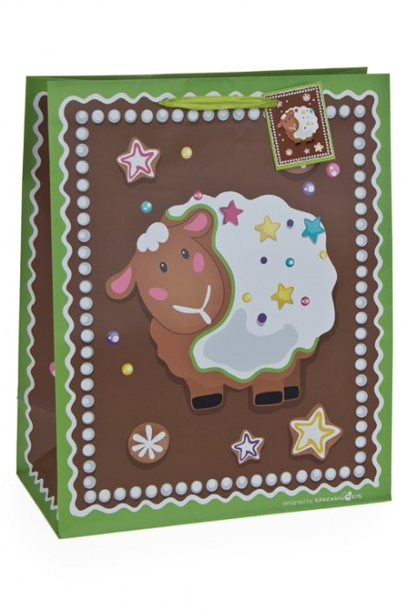 Пакет подарочный Пряничная овечкаНовогодние пакеты и коробки<br>32.4*10.2*44.5см, бум., матовый, с декором<br>