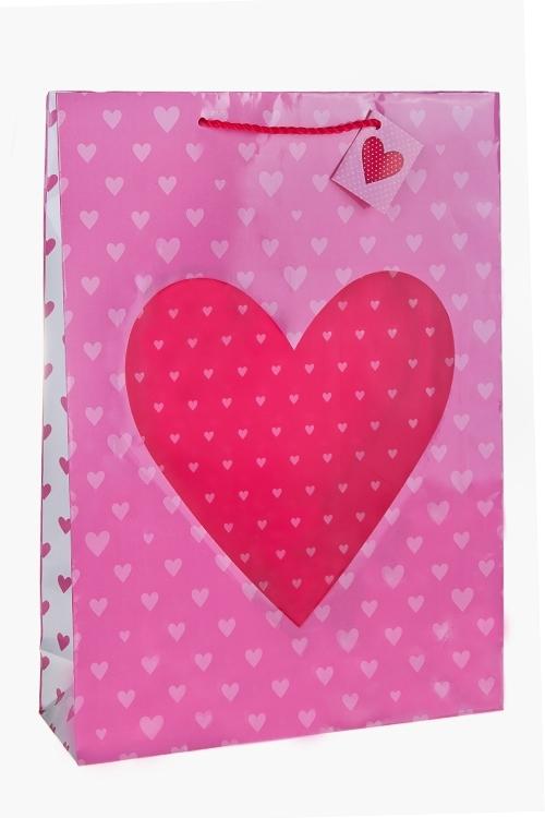 Пакет подарочный Глянцевое сердцеПакеты про Любовь<br>32.4*10.2*44.5см, бум., с декором, глянцевый<br>