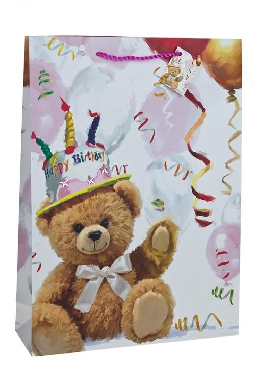 Пакет подарочный Поздравление от мишкиПакеты «С Днем рождения»<br>32.4*10.2*44.5см, бум., с декором, матовый<br>