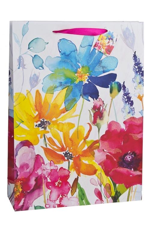 Пакет подарочный Луговые цветыСувениры и упаковка<br>32.4*10.2*44.5см, бум., с декором, матовый<br>