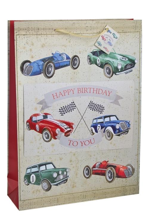 Пакет подарочный Раритетные машиныПакеты «С Днем рождения»<br>32.4*10.2*44.5см, бум., с декором, матовый<br>