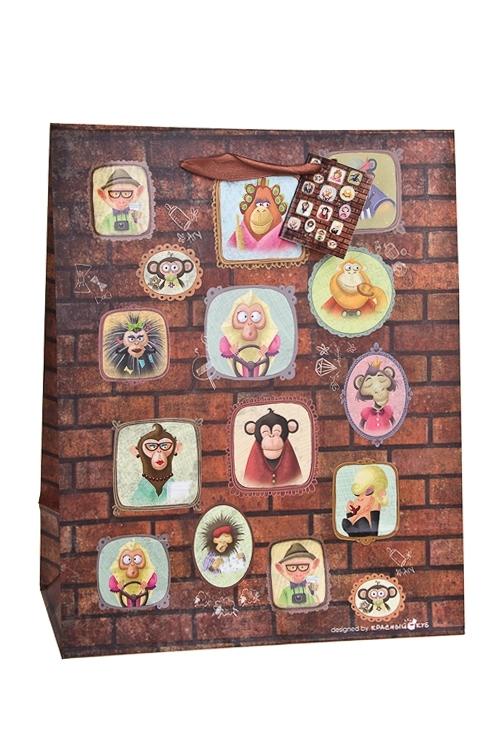Пакет подарочный Портреты обезьянокПодарочные пакеты<br>32.4*10.2*44.5см, бум., матовый, с декором<br>