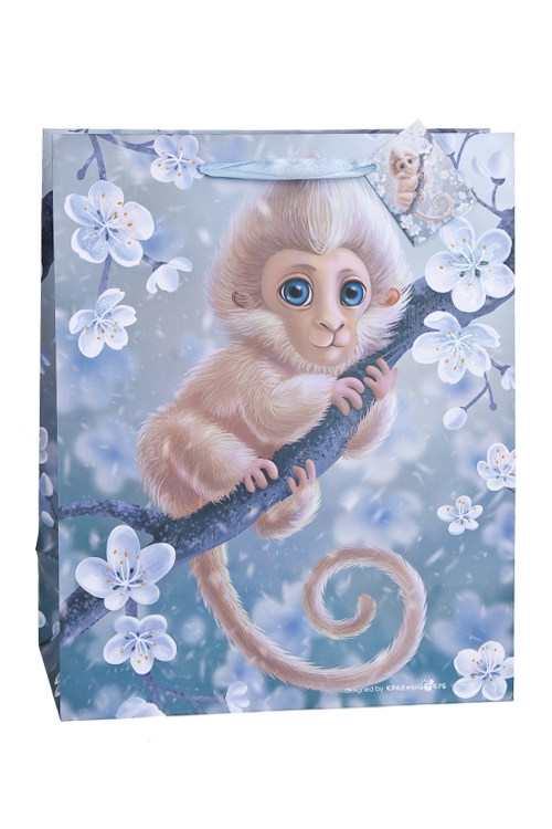 Пакет подарочный Волшебная обезьянкаСувениры и упаковка<br>32.4*10.2*44.5см, бум., матовый, с декором<br>