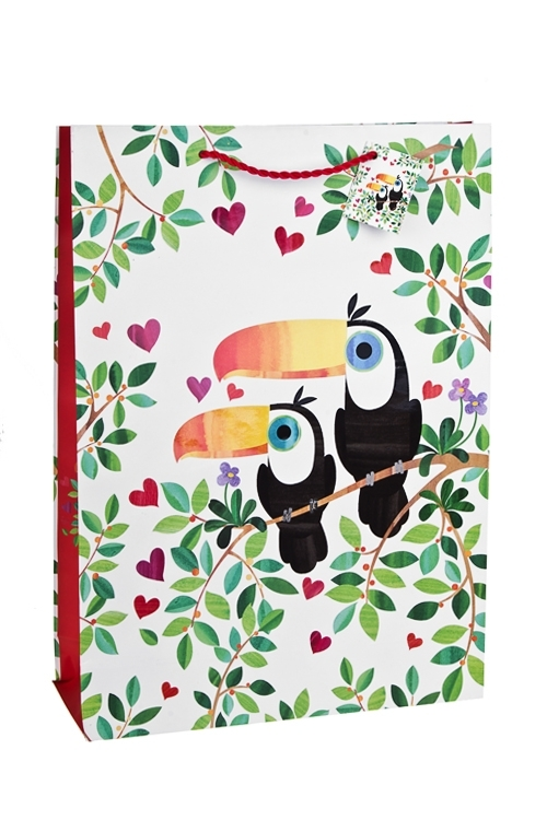 Пакет подарочный Влюбленные туканыСувениры и упаковка<br>32.4*10.2*44.5см, бум., матовый, с декором<br>
