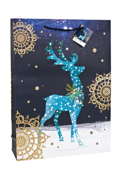 Пакет подарочный новогодний Чудный оленьСувениры и упаковка<br>32.4*10.2*44.5см, бум., матовый, с декором<br>